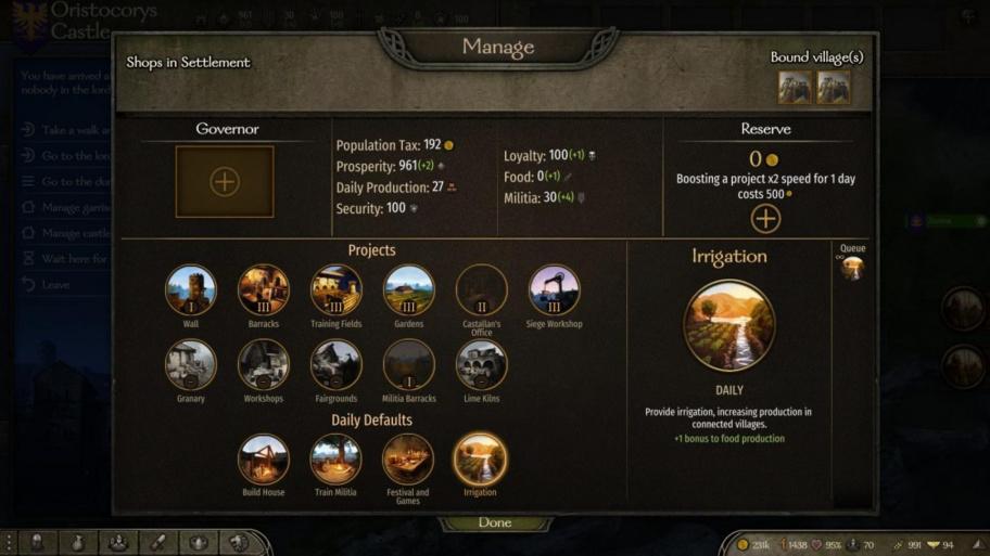 Mount & Blade 2: Bannerlord: как управлять своим городом