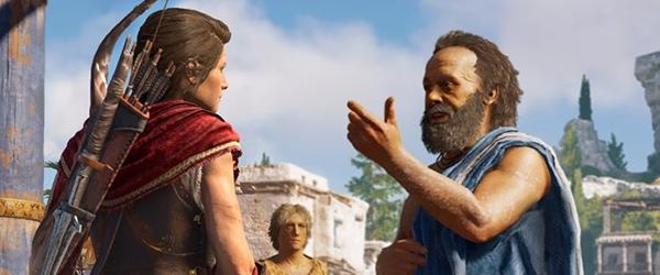 Женщина говорит с мужчинами на улице (Assassin's Creed Odyssey)