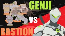 Overwatch animated BASTION and GENJI short Funny (Анимация)
