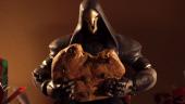 Кукольные Жнец и Трейсер сражаются за печеньки— праздничное поздравление от Overwatch