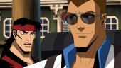 Скорпион и Джонни Кейдж в роликах из мультфильма Mortal Kombat Legends: Scorpion's Revenge