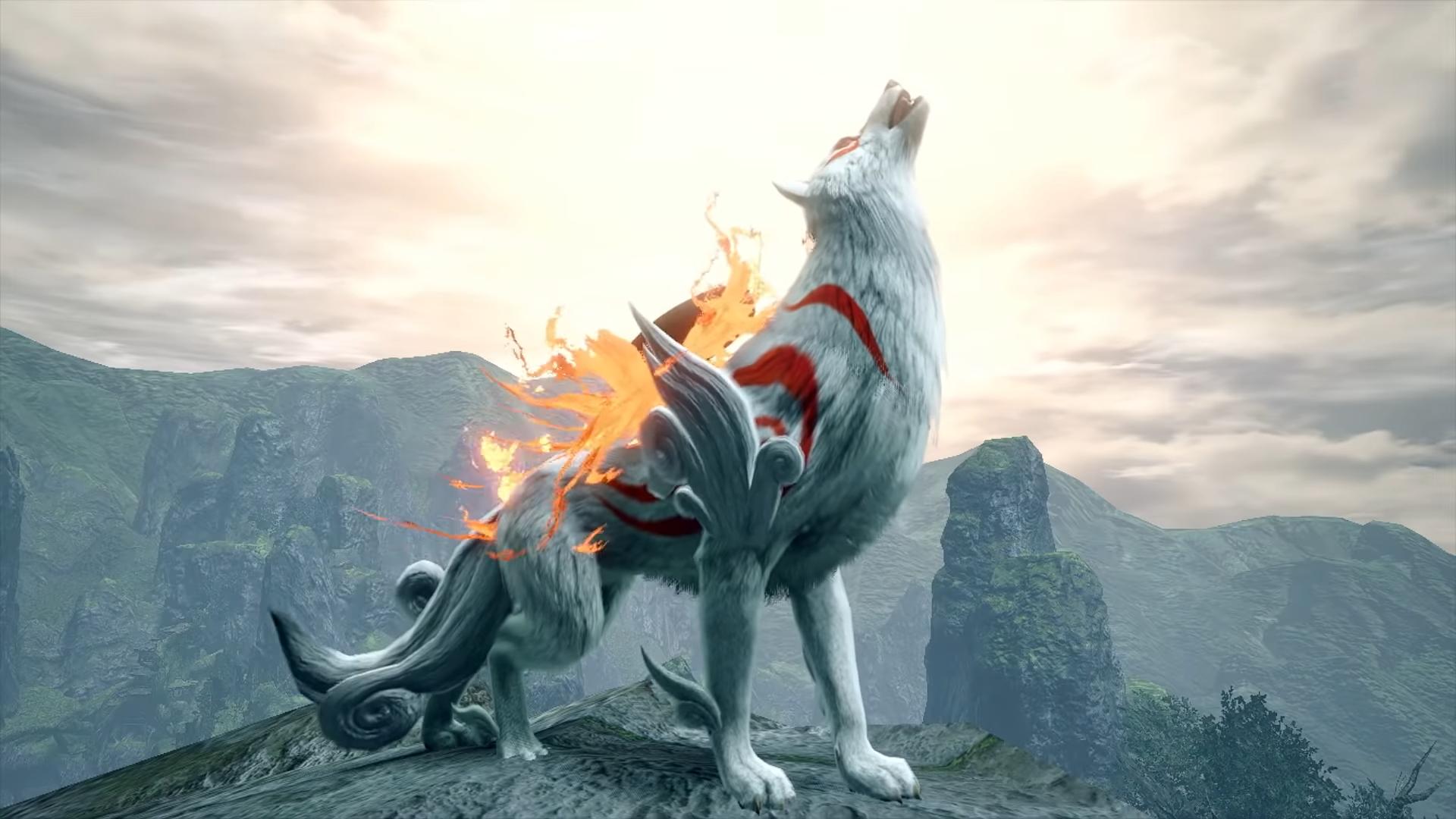 Скоро в Monster Hunter Rise появится волчица Аматэрасу из Okami