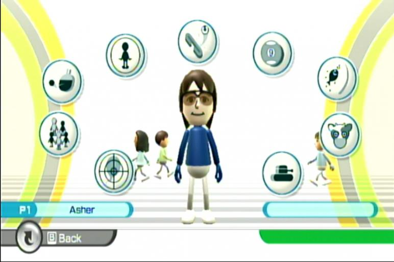 Главное меню Wii Play. Mii-аватар похож. Покрайней мере, руки закреплены также.