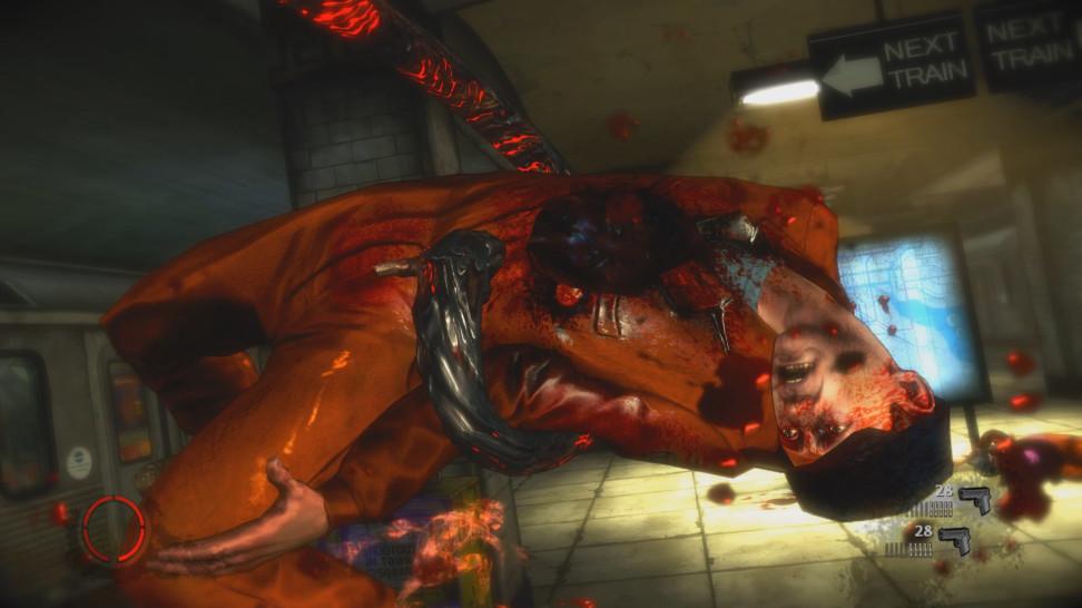 """В лучших традициях Bulletstorm игра подталкивает тебя как можно изощрённее (или извращённее) расправляться с врагами, и также любит именовать каждую из смертей, например на экране вы видите убийство """"Анаконда"""""""