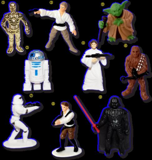 <i>1. Си-3ПО (C-3PO);  2. Р2-Д2 (R2-D2); 3. Люк Скайокер (Luke Skywalker); 4. Принцесса Лея (Princess Leia); 5. Йода (Yoda); 6. Чубакка (Chewbakka); 7. Штурмовик (Stormtrooper); 8. Хан Соло (Han Solo); 9. Дарт Вейдер (Darth Vader);</i>
