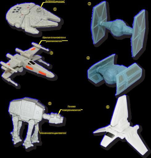 "<i>1. Сокол Тысячелетия (Millenium Falcon); 2. Истребитель кл. ""С.И.Д."" (TIE Fighter); 3. Крестокрыл (X-Wing); 4. Истребитель Вейдера (Кл. ""С.И.Д."") (Vader's TIE Fighter); 4. Броневездеход (AT-AT); 6. Шаттл ""Тиридий"" (Shuttle Tyridium);</i>"