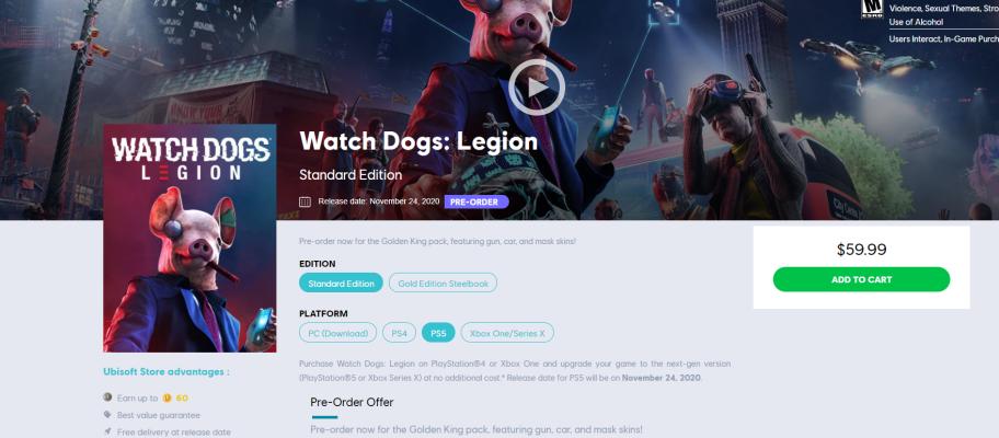 Похоже, PS5-версия Watch Dogs: Legion выйдет 24 ноября