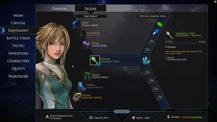 The inventory and menu of the character are arranged quite conveniently.