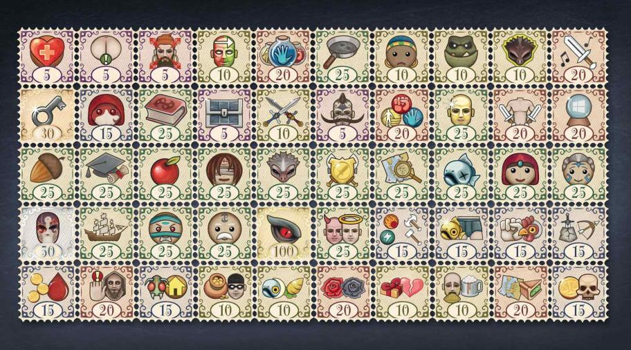 Оригинальное дизайнерское решение: ачивки ввиде марок, что тоже намекает нанеобходимость собрать полную коллекцию.