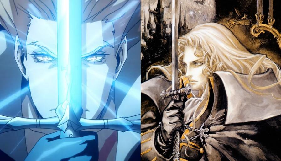 В восьмом эпизоде Алукард, прижимающий к лицу меч, отсылает нас к своей позе с обложки Symphony of the Night.