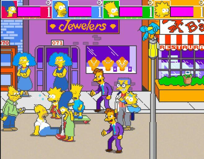 Скриншот из версии The Simpsons Arcade для аркадных автоматов.