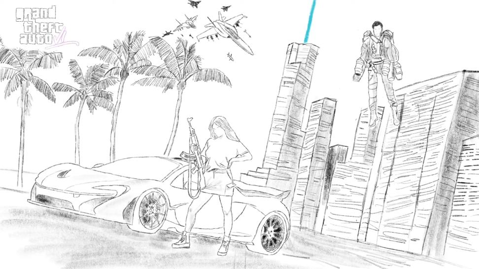 Слух: рисованный пересказ концепт-арта Grand Theft Auto VI