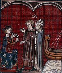 Робер деСабле ипатриарх Иерусалима встречаются скоролём Франции Филиппом IIАвгустом. Изображение изХроник Сен-Дени. 14-йвек.