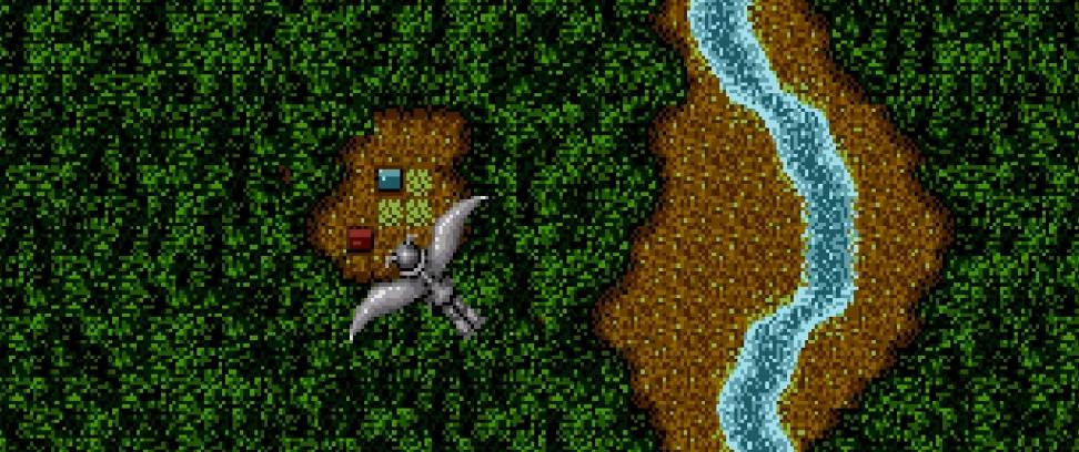 Финальный экран игры. Трайкар, после победы над драконом, забирает его крылья ипланирует скрыши замка всторону родной деревни.