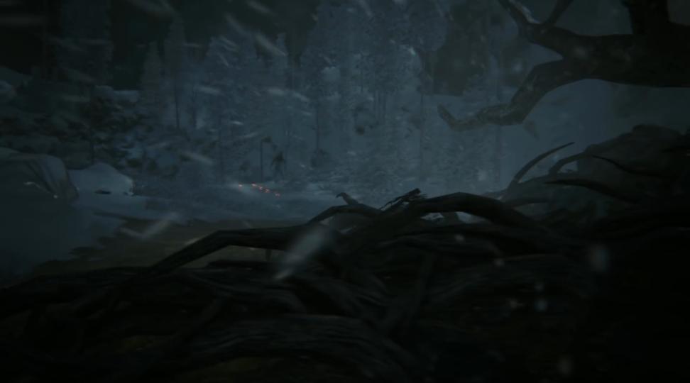 Видите чёрную тень, оставляющую позади себя светящиеся следы на снегу? Он тоже вас видит...