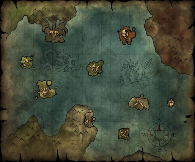 Карта места действий игры. Из общего со второй частью только три нижних справа острова
