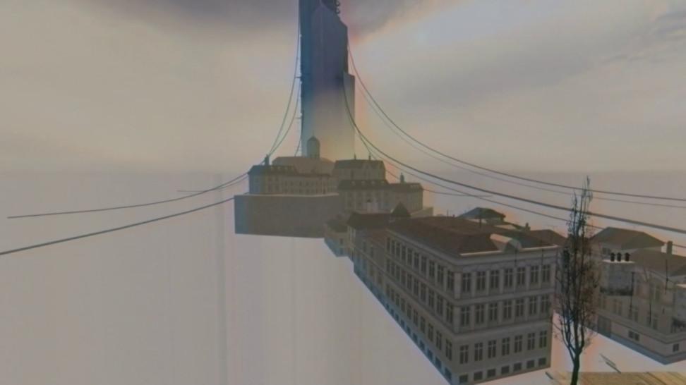 Пример моделей 3D Скайбокса. Здания находятся запределами локаций иподлететь вплотную кним нельзя. Посути там прогружаются низкополигональные лоды. Взято науровне d1_trainstation_2.