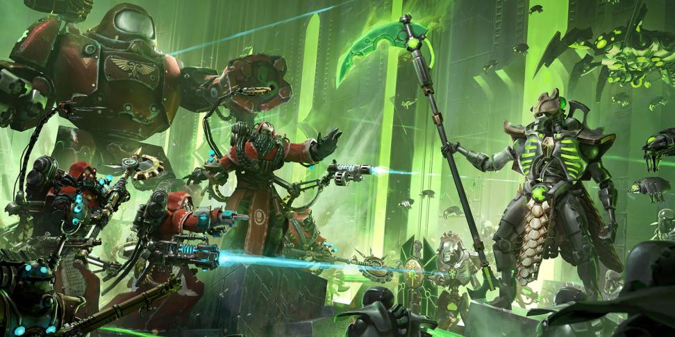 Техножрецы против некронов на ключевом арте Warhammer 40,000: Mechanicus.