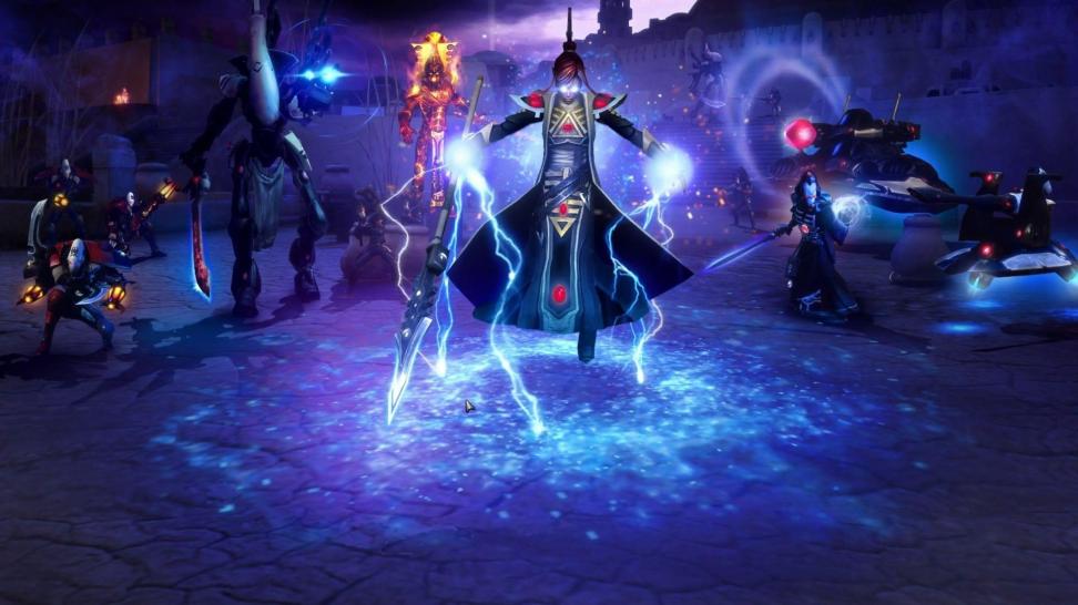 Так выглядят Эльдары в Dawn of War II. Кстати, ещё в Dawn of War — Soulstorm появились Тёмные Эльдары: условная мрачная версия расы вроде фэнтезийных тёмных эльфов.