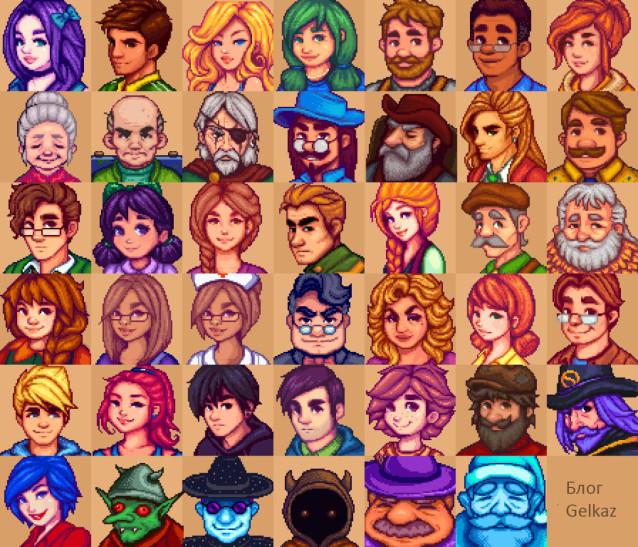 Портреты всех персонажей игры.