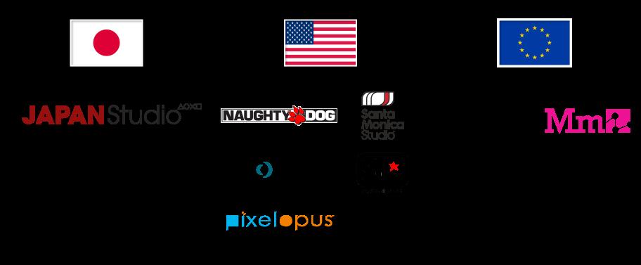 Японские, Американские и Европейские внутренние студии Sony