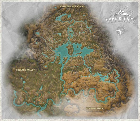 Карта Far Cry5. Округ Хоуп является собирательным образом всего штата Монтана.