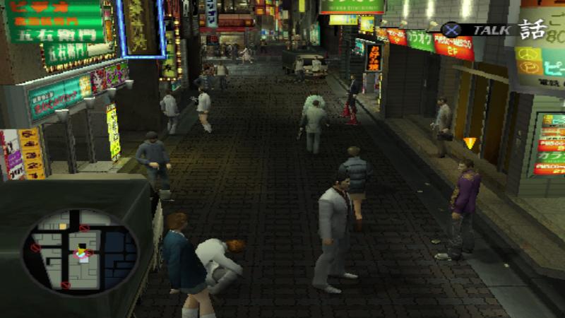 Скриншот изигры. Типичная улица японского мегаполиса.