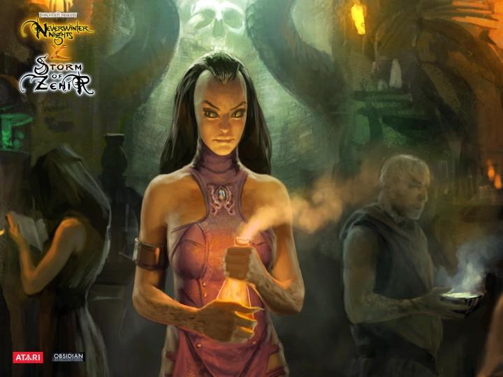 Neverwinter Nights 2: Storm of Zehir, 3D, девушки, компьютерные игры, корич